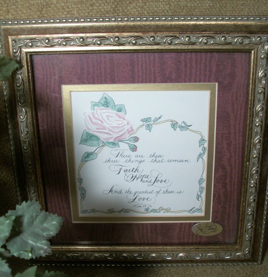 Faith Hope and Love Calligraphy Embossed  Framed Art, 1 Corinthians Bible Verse