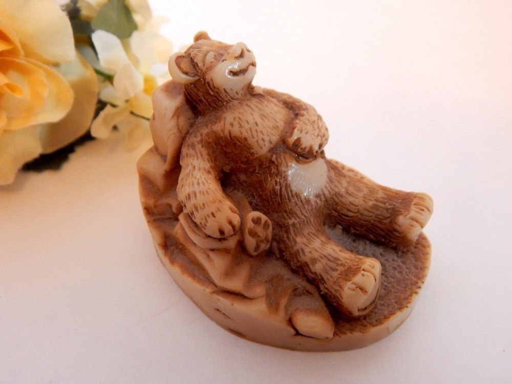 Brown Bear Figurine R Ruth 1985 Signed Georgia Marble Father's Day Gift