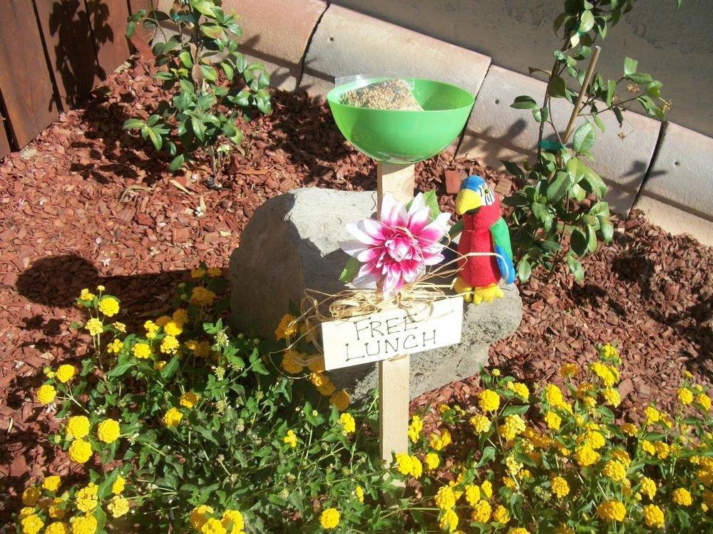 Free Lunch Bird Feeder New Hand Crafted Green Seed Dish Pink Flower Garden Decor