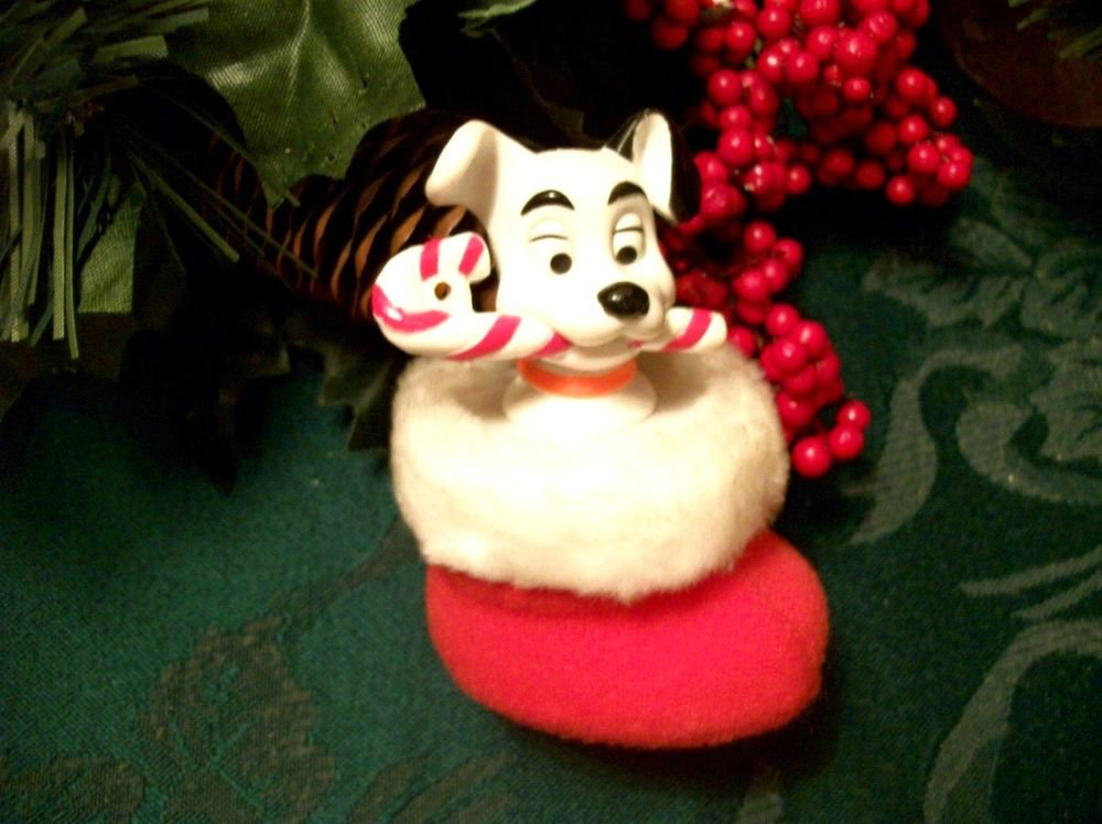 Disney 101 Dalmatians Black White Dog Christmas Ornament McDonalds Toy  VTG