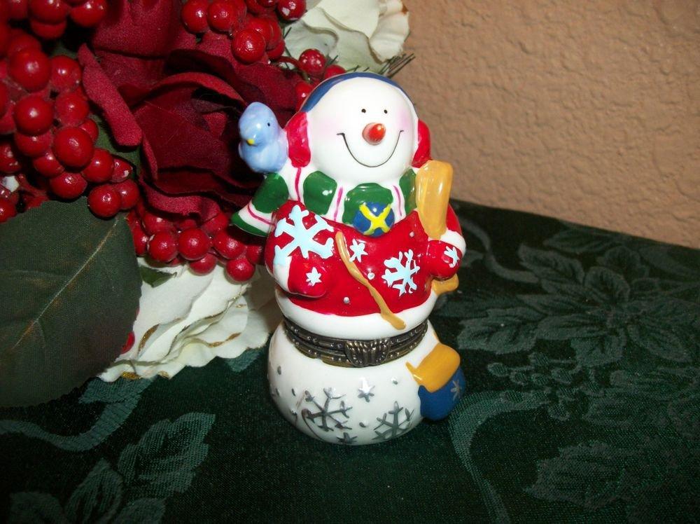 Snowman and Blue Bird Ceramic Figurine Ring Trinket Box Winter Christmas Decor