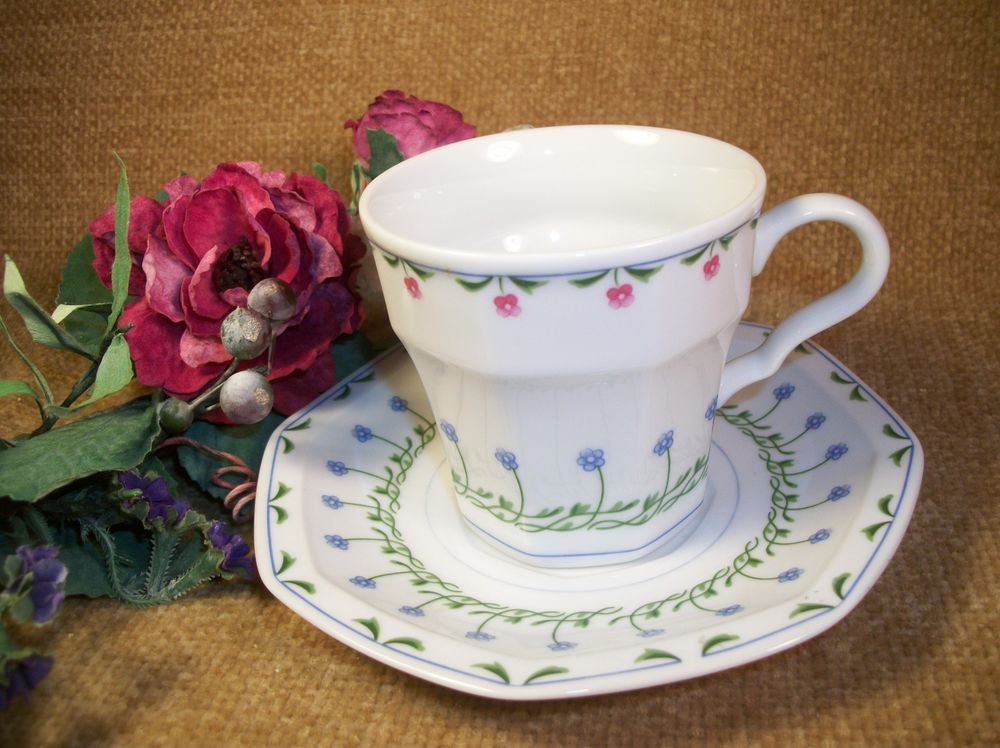 Mikasa Tea Cup and Saucer Younger than Springtime Bali Hai Pink Blue Floral VTG