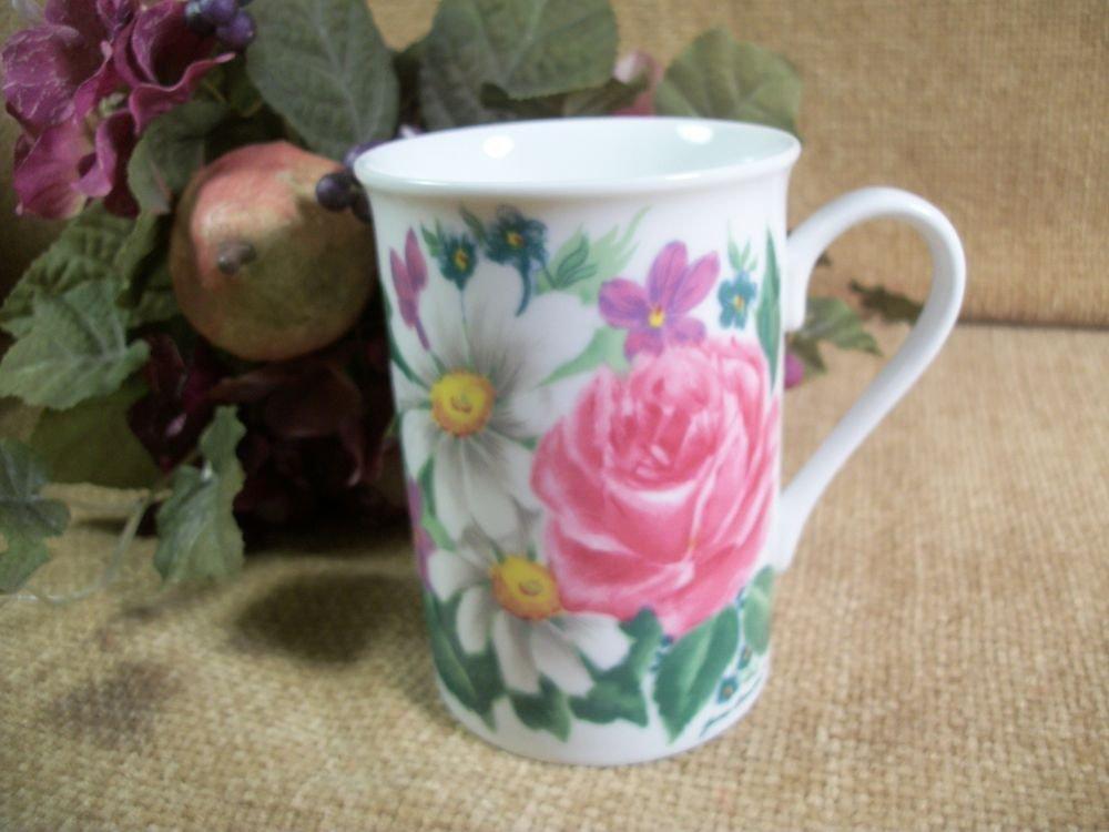 Coffee Mug Ceramic Cup Flowers Pink Roses Pretty Jane Bower Vintage Tableware