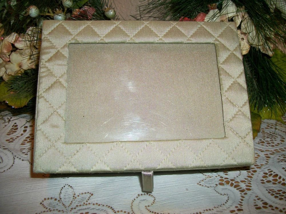 Picture Frame Photo Top Jewelry Box Green Satin Keepsake Trinket Covered Storage