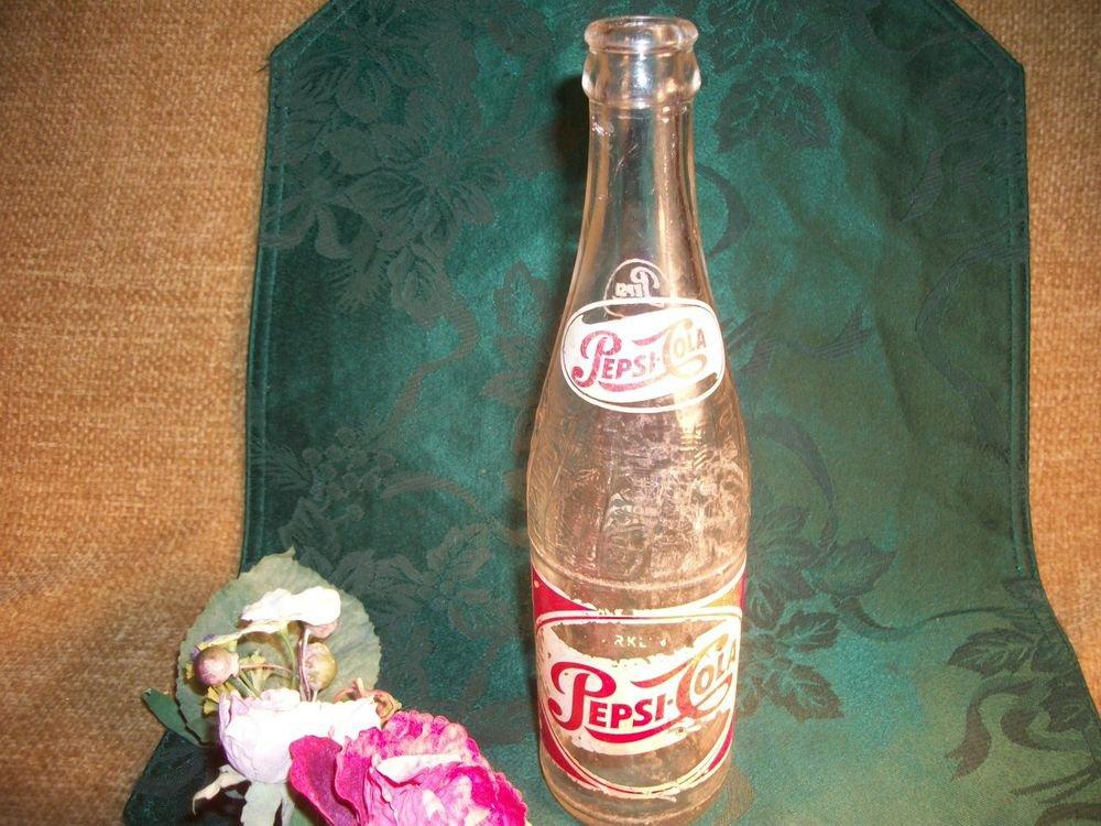 Pepsi Cola Bottle Vintage 1950's Clear Embossed Glass 12 oz Sparkling Soda Pop