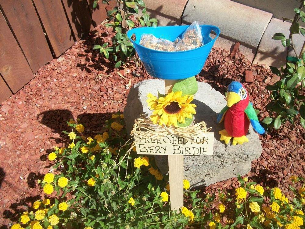Free Seed for Every Birdie Bird Feeder Handmade Blue Dish Pink Flower Yard Art