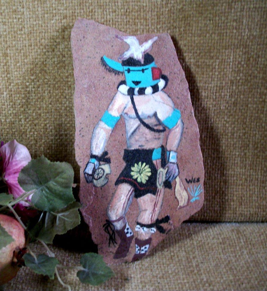 Original Painting Southwestern Style Art Warrior on Arizona Flagstone