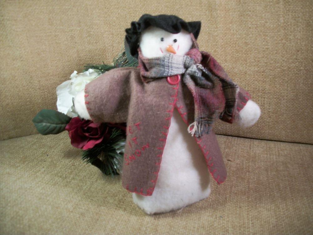 Snowman Winter Christmas Decoration Handcrafted Stuffed Fleece Rustic Folk Art