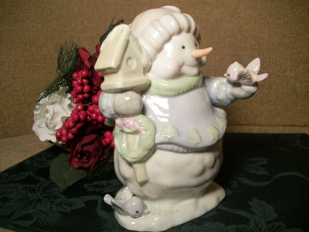 Snowman with Bird and Bird House Blue and White Pastel Ceramic Vintage Figurine