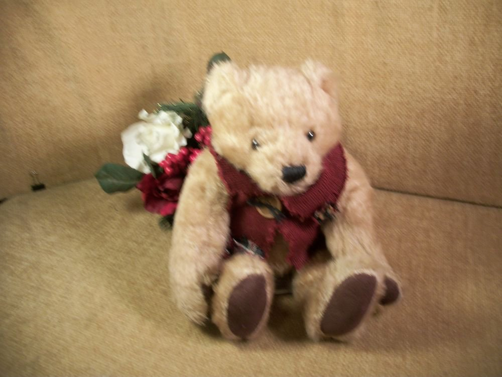 DAN DEE Collector's Choice TEDDY BEAR Tattered Red Sweater Brown Plush Stuffed