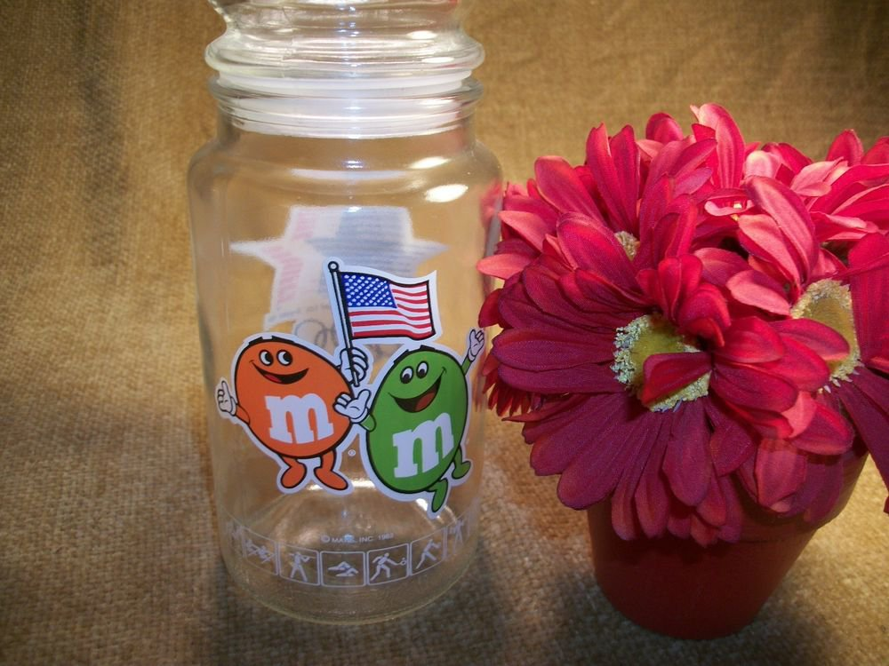 Glass Canister M and M's Candy Jar 1984 Olympics Los Angeles California USA