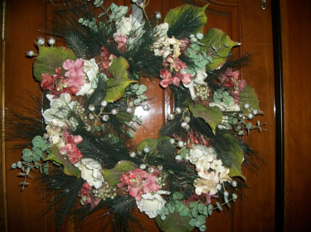 "Elegant White Pink and Gold Sparkly Floral Winter Wreath 24"" Grapevine Decor"