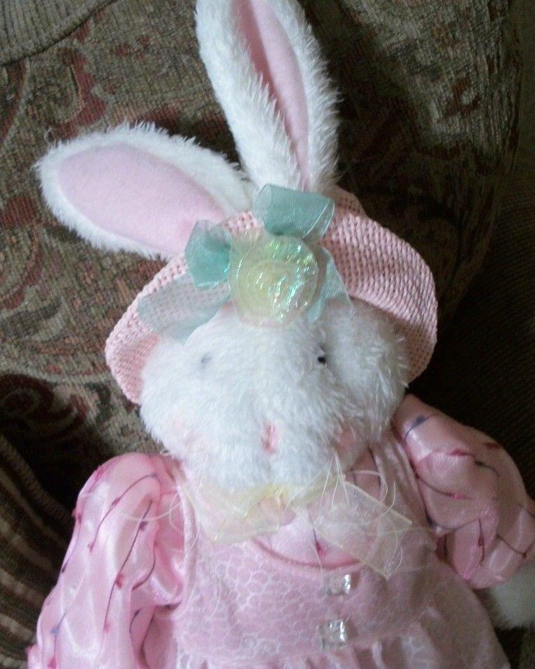 "White Bunny Rabbit Pink Dress 26"" Plush Stuffed Animal Spring Decor by Sun Point"