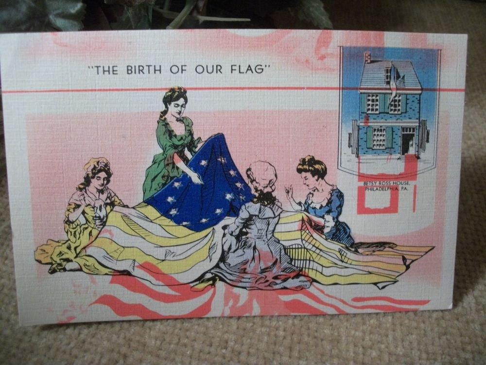 Unposted Linen Post Card Betsy Ross House VTG 1940's Americana Paper Ephemera