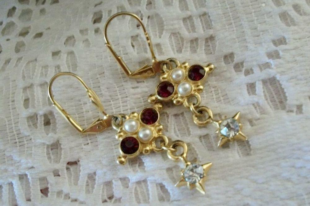Cross Earrings Red Rhinestone White Bead Gold Metal VTG Religious Jewelry