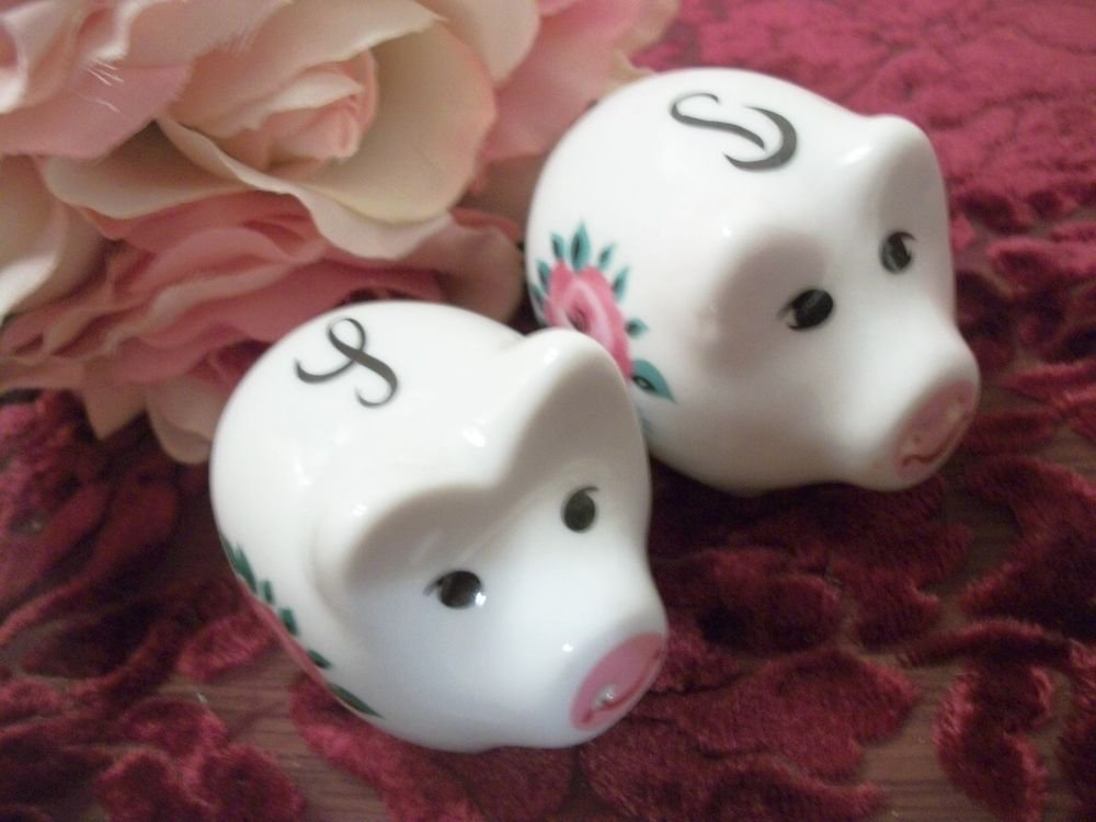 Pig Salt  Pepper Shakers White Porcelain Pink Floral Figurines VTG Collectible
