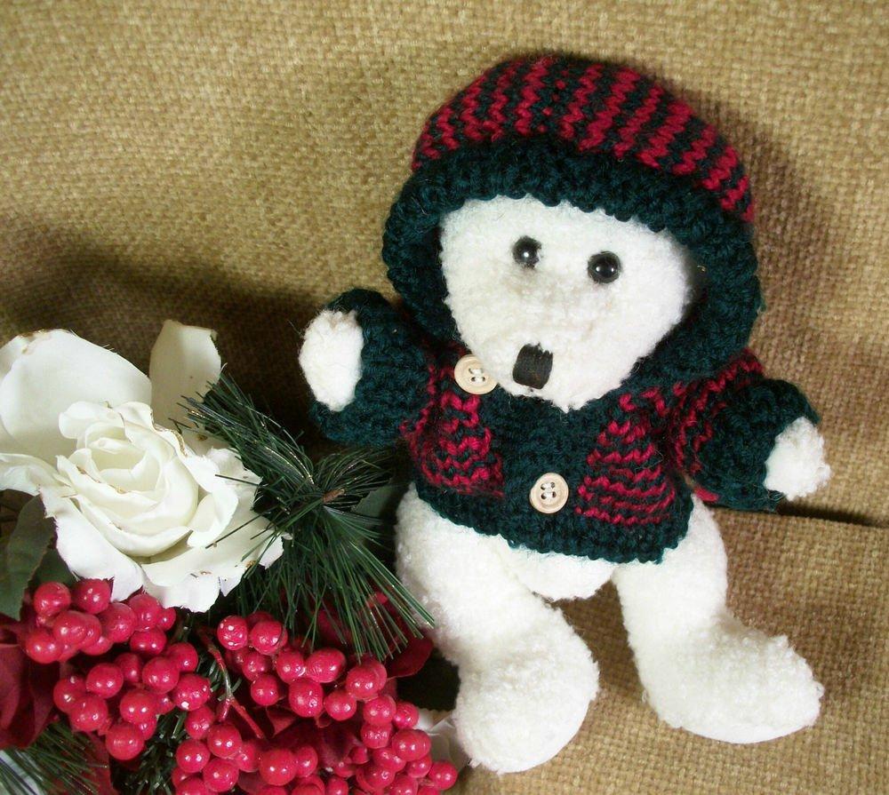 White Polar Bear Christmas Stuffed Animal Green and Red Hoodie by Hugfun 1998