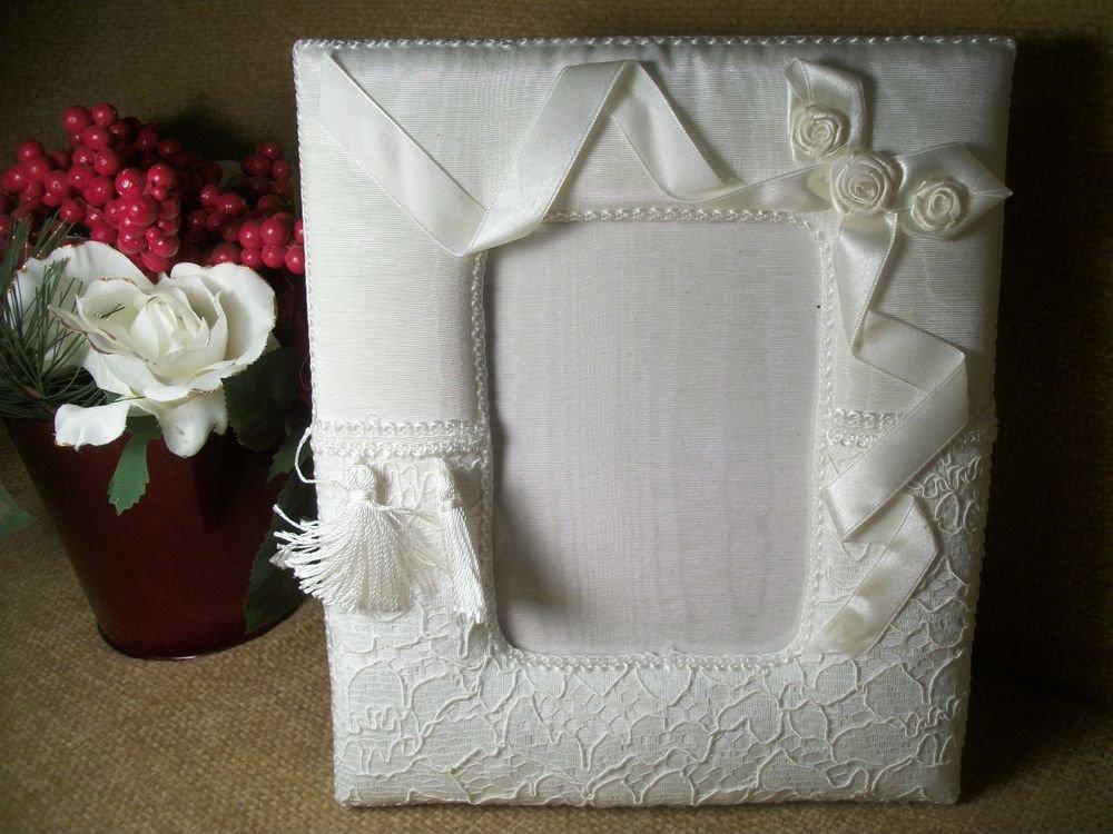 Wedding Picture Frame Bridal Portrait Photo Display White Ribbon Lace Trims