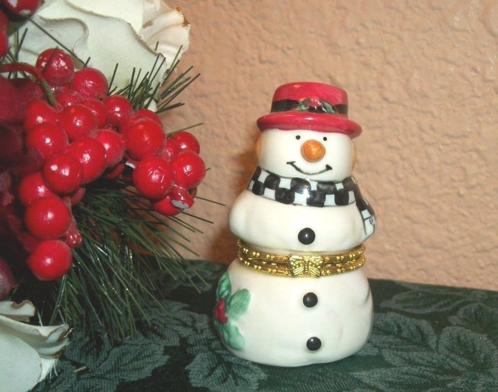Snowman Red Hat Trinket Box Ceramic Figurine Ring Keeper Winter Christmas Decor