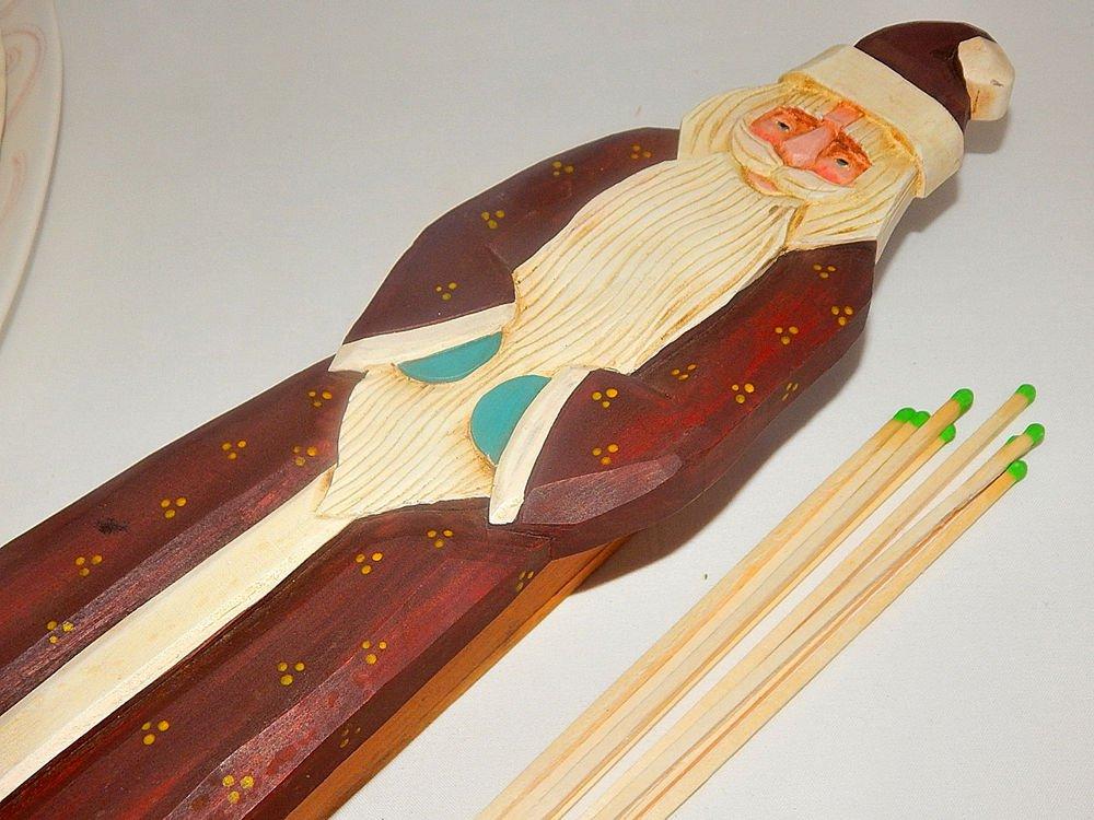 Santa Claus Figurine Long Match Stick Holder Fireplace Accessory Christmas Decor