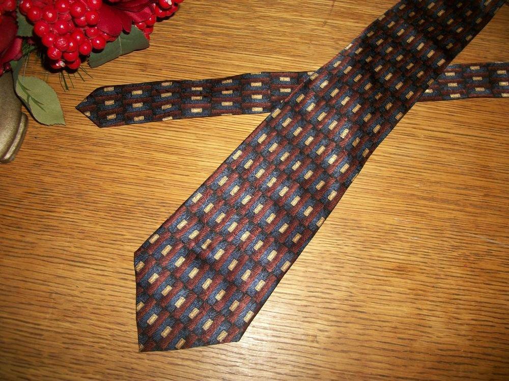 Zanara Designer Tie Blue Burgundy Red Poly Silk Blend Geometric Mens VTG Necktie