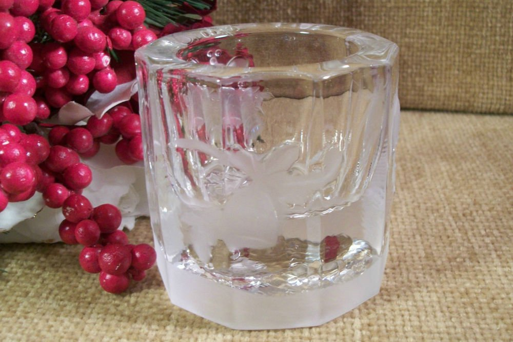 Holiday Bells Frosted Glass Candle Holder Vintage Christmas Home Decor