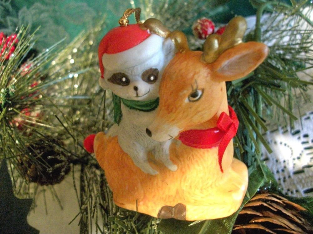 Deer and Raccoon Porcelain Bell Christmas Orn Woodland Winter Figurine VTG SJNY