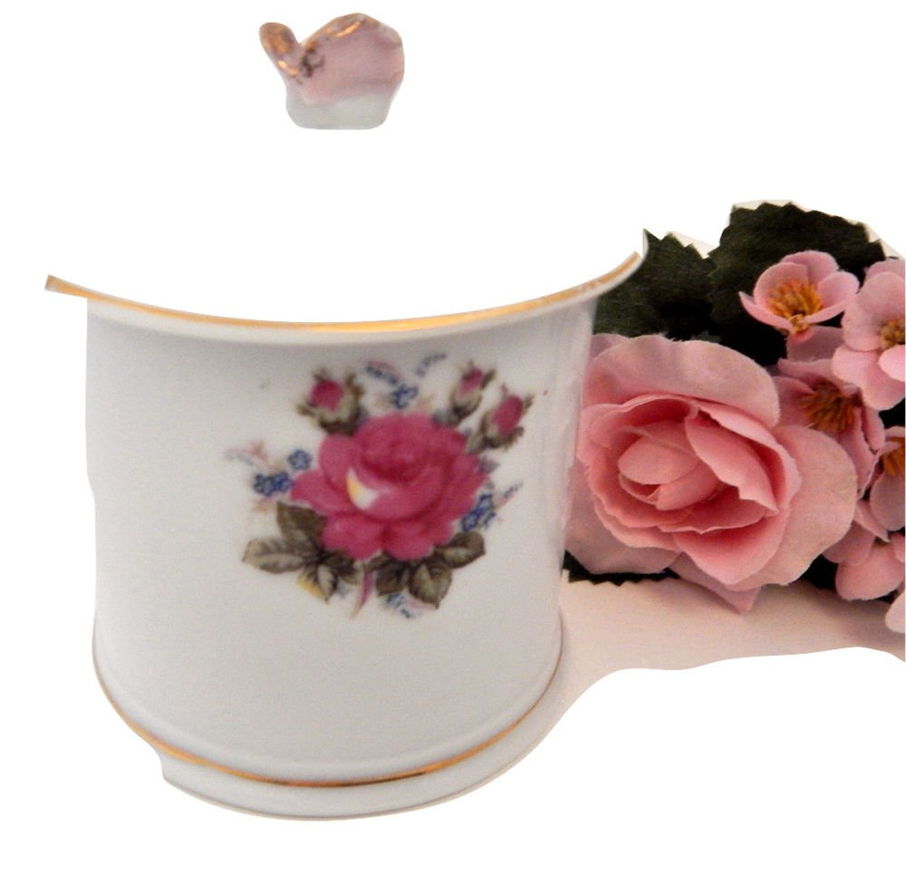 Jelly Dish Vintage White Porcelain Pink Rose Covered Sugar Bowl Jam Sauce Server