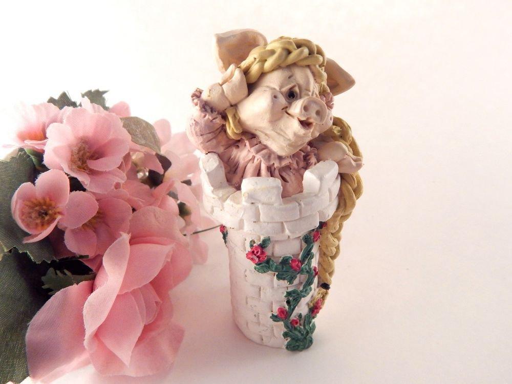 Pink Pig as Long Hair Rapunzel Figurine Kathy Wise Enesco Vintage Collectible