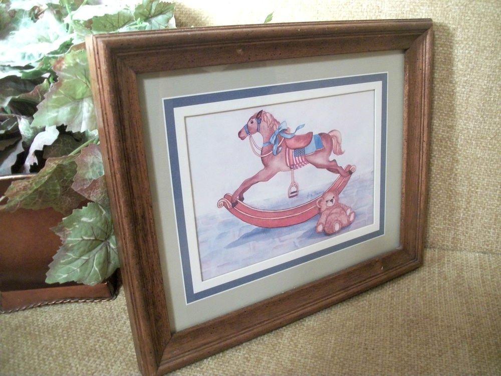 Anna Freeman Vintage Oak Framed Art Print Rocking Horse Teddy Bear American Flag