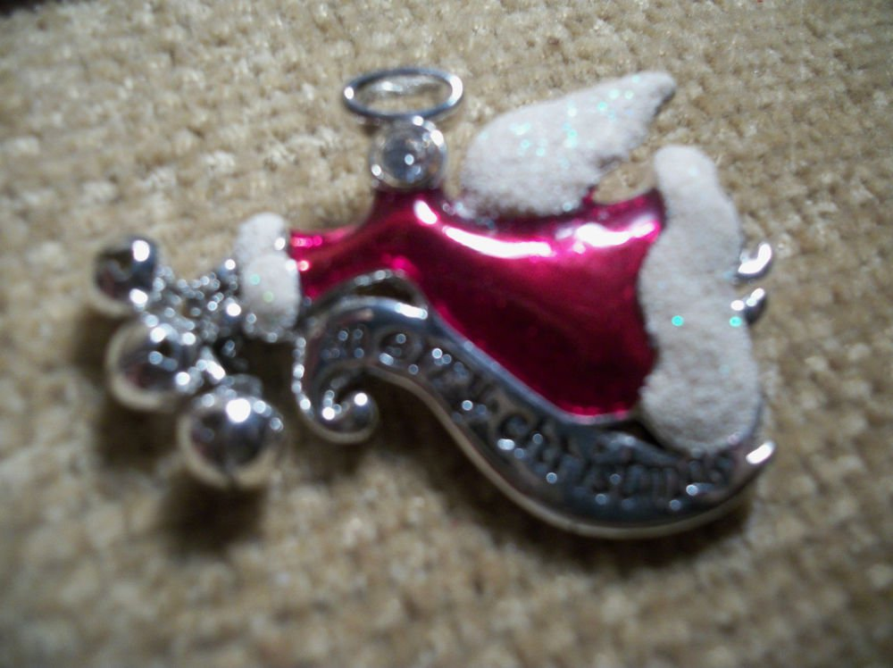 Red and White Angel Bar Pin Enameled Brooch, Merry Christmas Jingle Bell Jewelry