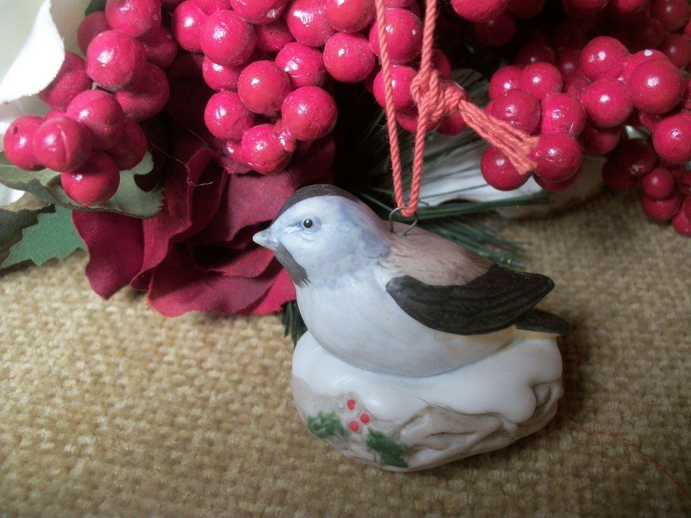 Bird in Winter Nest Porcelain Christmas Tree Ornament, Vintage HOMCO Home Decor
