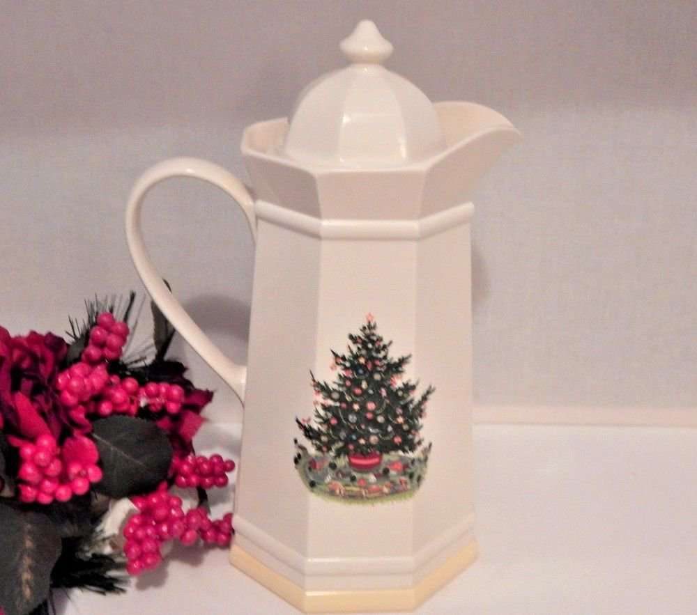 Coffee Carafe Pfaltzgraff Christmas Heritage Vintage Hot Cold Thermos Pitcher