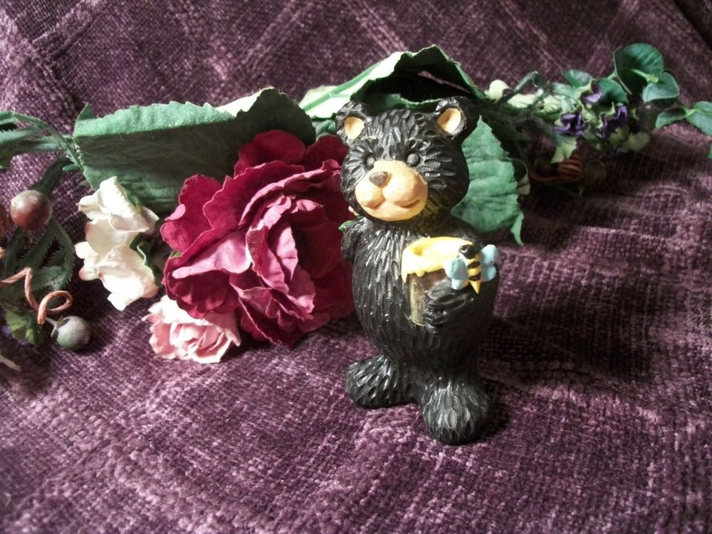 Black Bear Molded Resin Figurine Bearing GIfts of Honey Pot and Bees Home Decor
