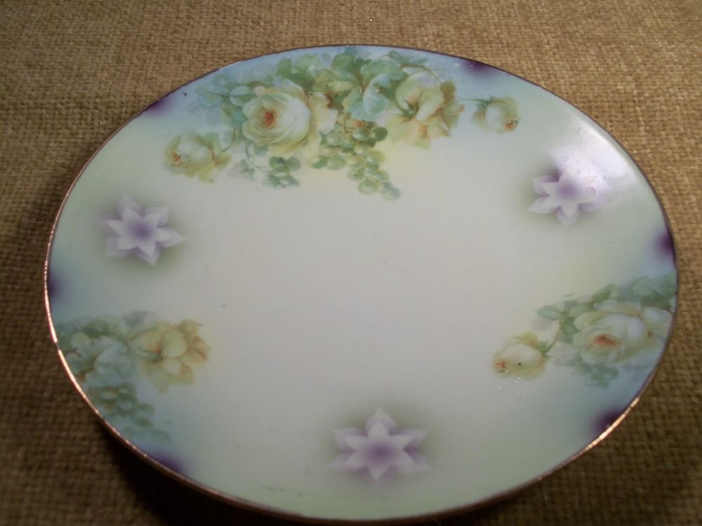 Silesien Plate Colorful Roses and Grapes Antique 1930's Home Decor from Germany