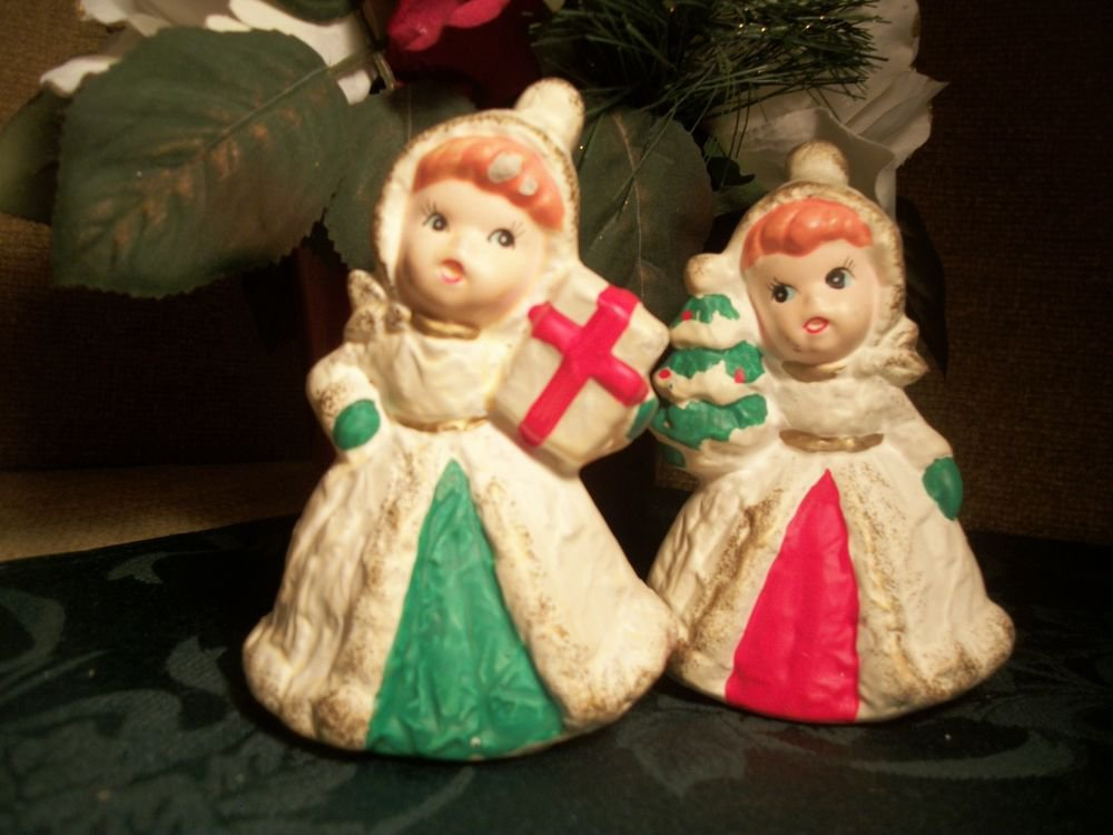 Homco C 5323 Vintage Christmas Ceramic Figurines, Victorian Girls, White Coats
