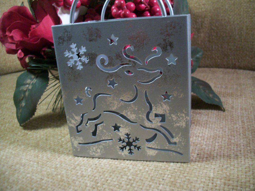 Votive Candle Holder Silver Metal Winter Christmas Reindeer Snowflakes Star Deco
