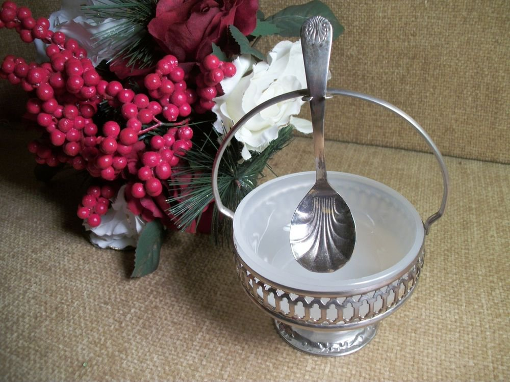 Condiment Serving Set Silverplate from England VTG White Glass Bowl Spoon Caddy