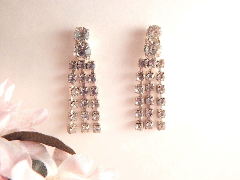 Rhinestone Earrings Vintage Costume Jewelry Silver Metal Dangle Drop Down