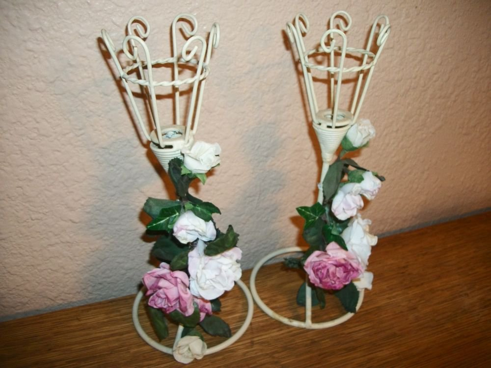 Candle Holders Metal and Rose Garland Votive Cottage Shabby White Candlesticks
