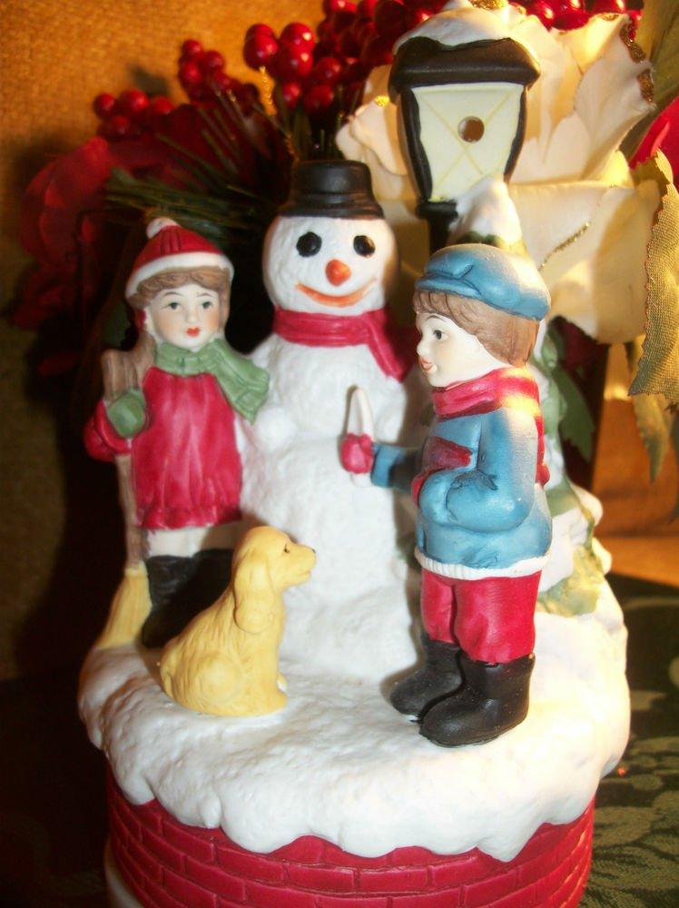 Snowman and Kids Music Box Christmas Decor Rotating Ceramic Plays Jingle Bells