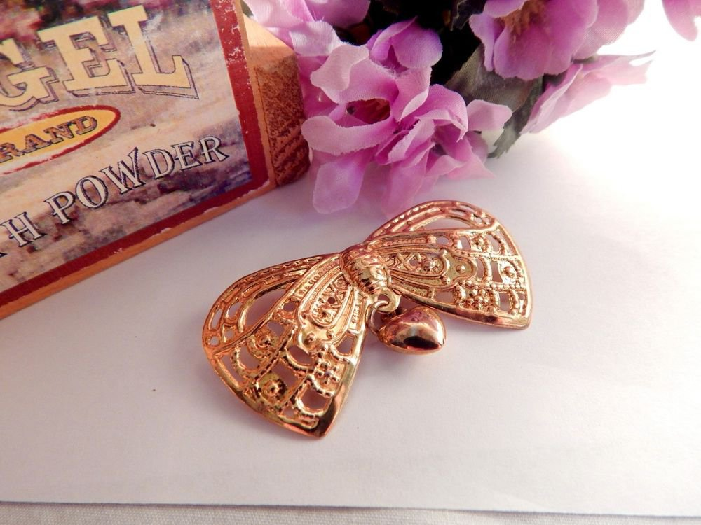 Bow Brooch Hanging Puffed Heart  Collar Pin Gold Pressed Metal Vintage Jewelry