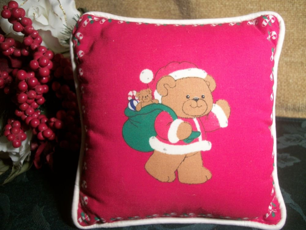 """Teddy Bear Santa Claus Red Christmas Accent Pillow  7""""  Holiday Home Decoration"""