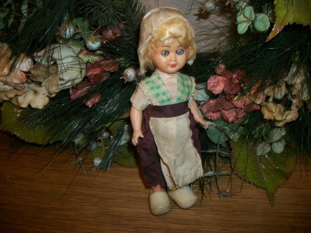 Celluloid Toy Dutch Girl Doll Sleepy Eyes Jointed  Antique 1920's Collectible