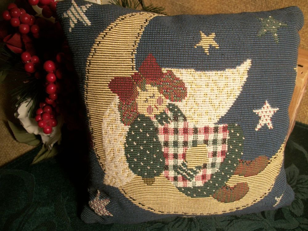 Pillow Tapestry Accent Decor Angel Stars Moon VTG 1980's Country Home Accessory