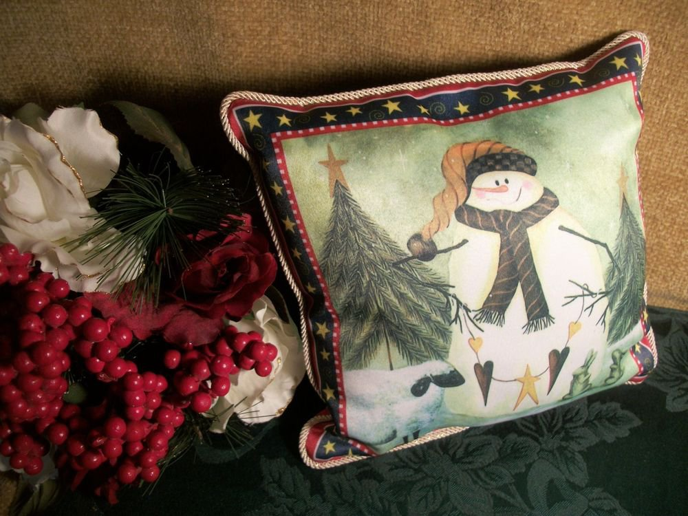 Snowman Hearts and Stars Winter Scene Holiday Pillow, Christmas Decoration