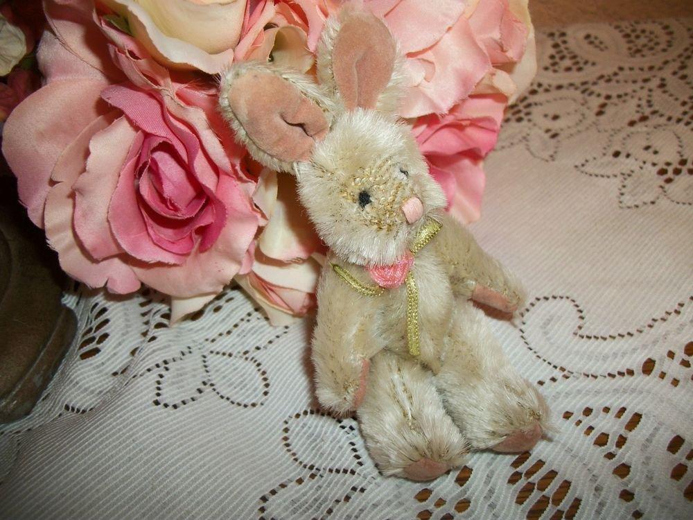 "Bunny Rabbit Stuffed Animal 5"" Jointed Beige Plush Home Decor Shelf Sitter Toy"