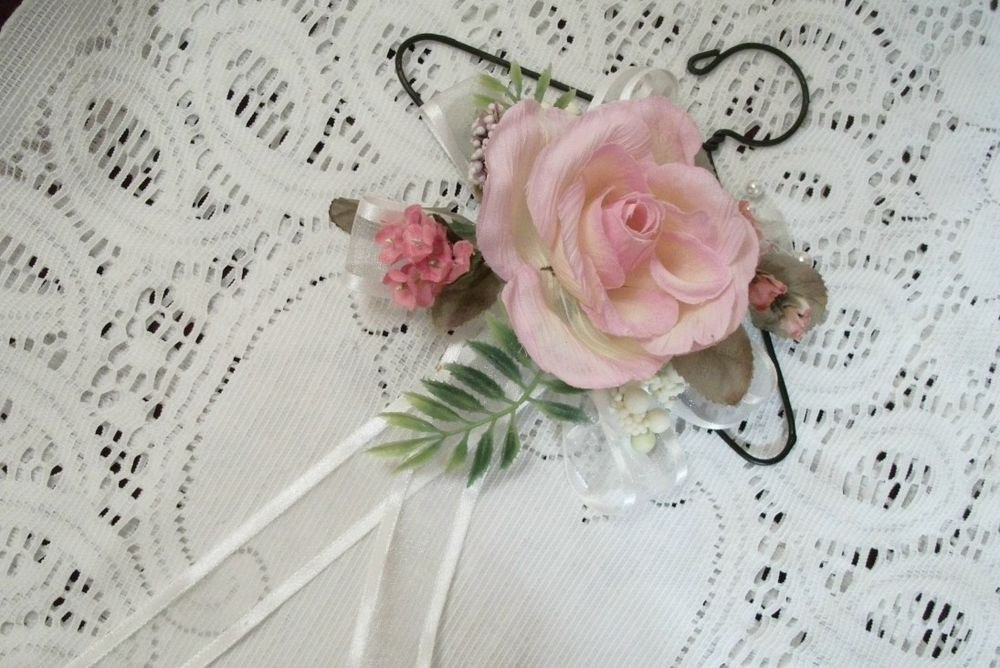 Pink Rose Floral Wall Hanging Cottage Chic Victorian Handcrafted Home Decor