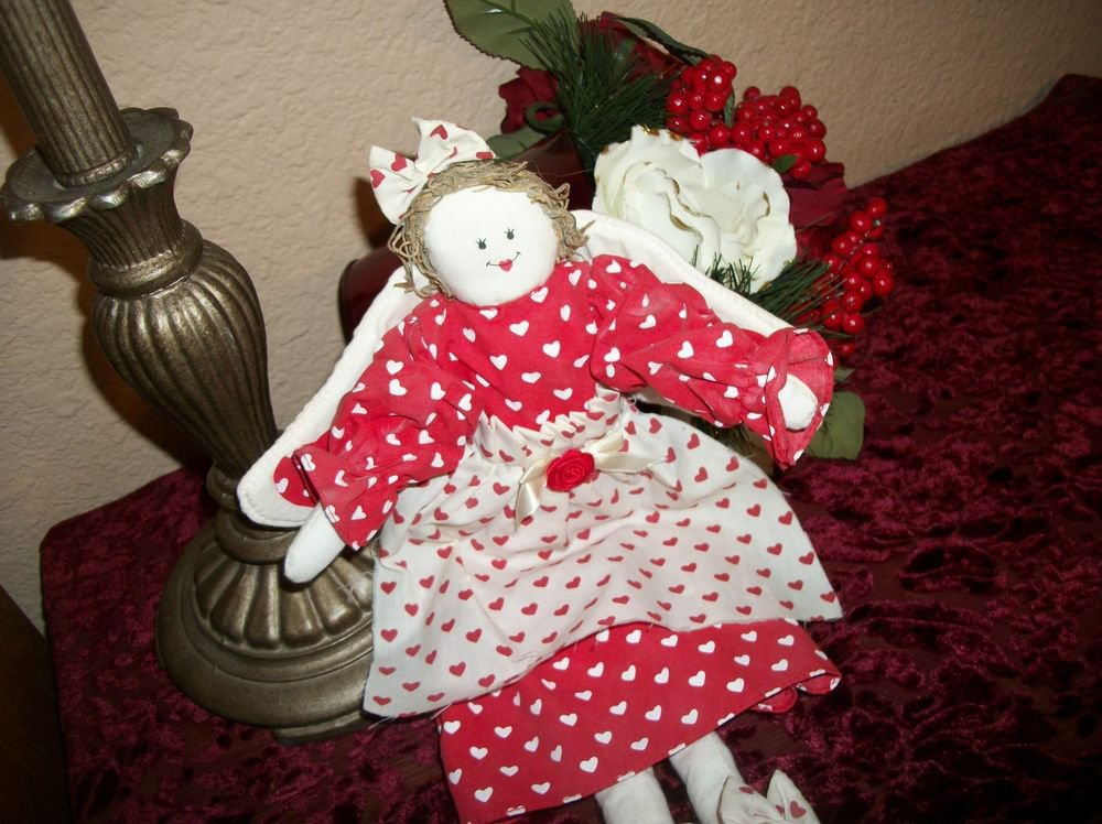 Angel Doll Red & White Hearts Folk Art Wall Hang or Shelf Sitter Country Decor