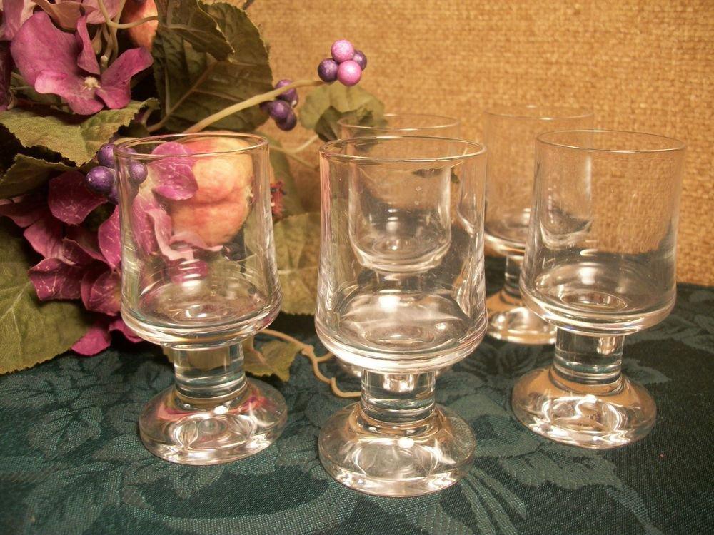 Bar Glasses Five VTG Art Deco Barware Cordial Liquoir Appertif Pedestal Stemware